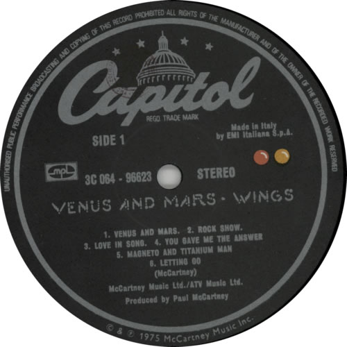 Paul McCartney and Wings Venus And Mars + Posters Italian