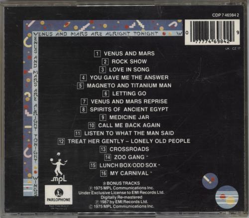 Paul McCartney and Wings Venus And Mars CD album (CDLP) UK MCCCDVE768124