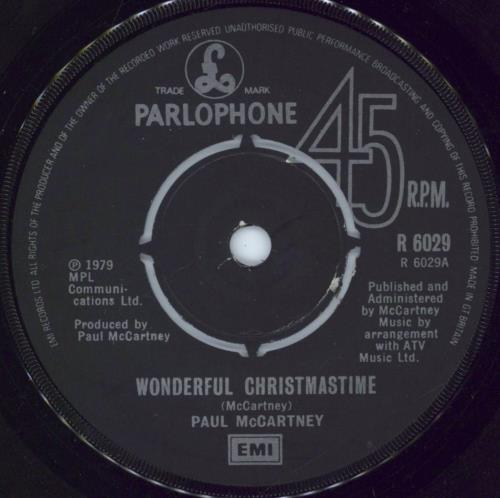 "Paul McCartney and Wings Wonderful Christmastime 7"" vinyl single (7 inch record) UK MCC07WO771808"
