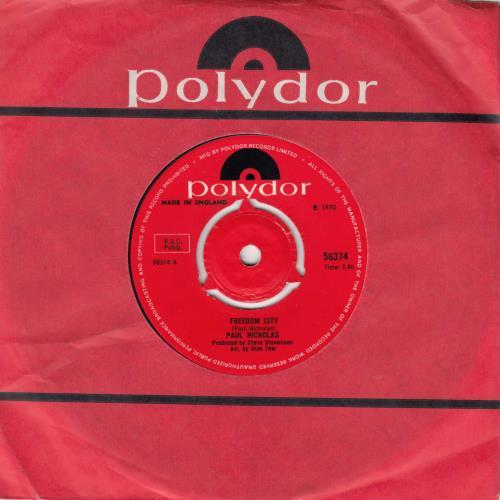 "Paul Nicholas Freedom City / Run Shaker Life 7"" vinyl single (7 inch record) UK PN207FR674828"