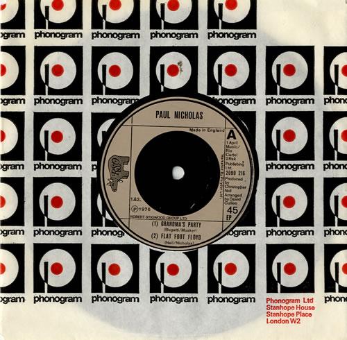 "Paul Nicholas Grandma's Party EP 7"" vinyl single (7 inch record) UK PN207GR573696"