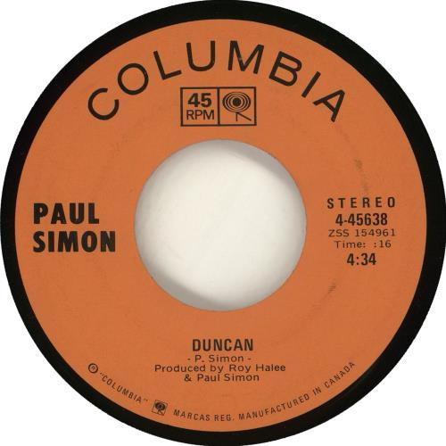 "Paul Simon Duncan 7"" vinyl single (7 inch record) Canadian PSI07DU714326"