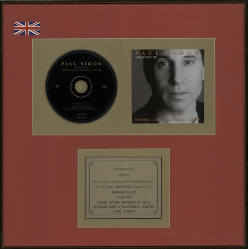Paul Simon Greatest Hits: Shining Like A National Guitar in-house award disc UK PSIAIGR584949