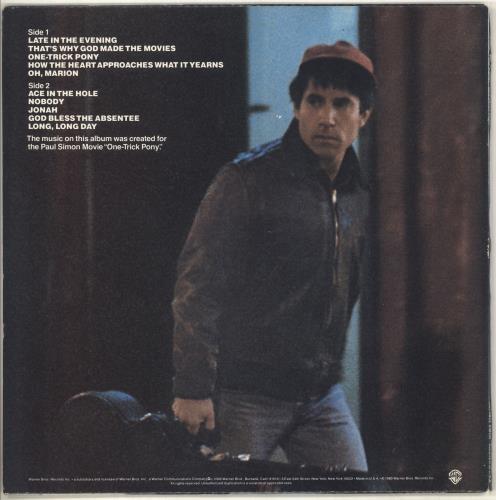 Paul Simon One Trick Pony vinyl LP album (LP record) US PSILPON707296
