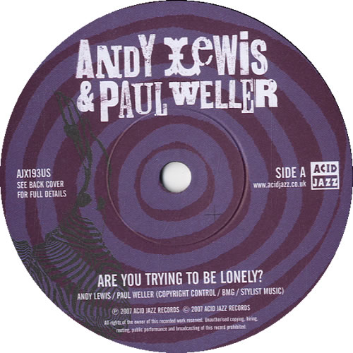 "Paul Weller Are You Trying To Be Lonely? 7"" vinyl single (7 inch record) UK WEL07AR411835"