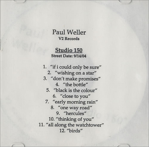 Paul Weller Studio 150 CD-R acetate US WELCRST303602