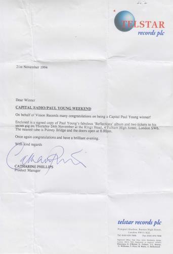 Paul Young Reflections - Autographed + Letter CD album (CDLP) UK PYOCDRE727892