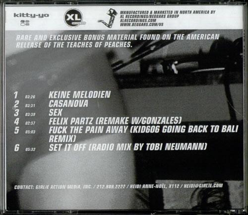 Peaches The Teaches Of Peaches - US Bonus Tracks US Promo CD-R acetate