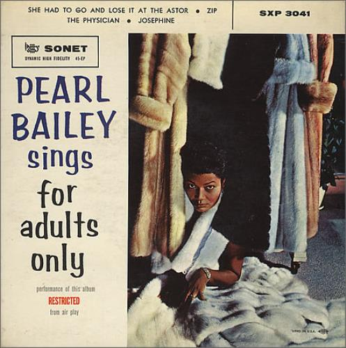 """Pearl Bailey Sings For Adults Only EP 7"""" vinyl single (7 inch record) Swedish PXC07SI366819"""
