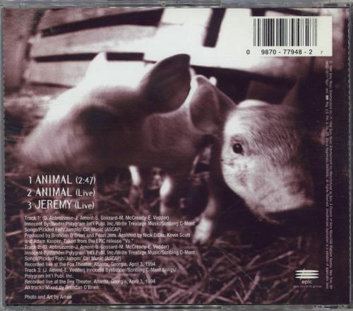 "Pearl Jam Animal - Stickered CD single (CD5 / 5"") US PJAC5AN768126"