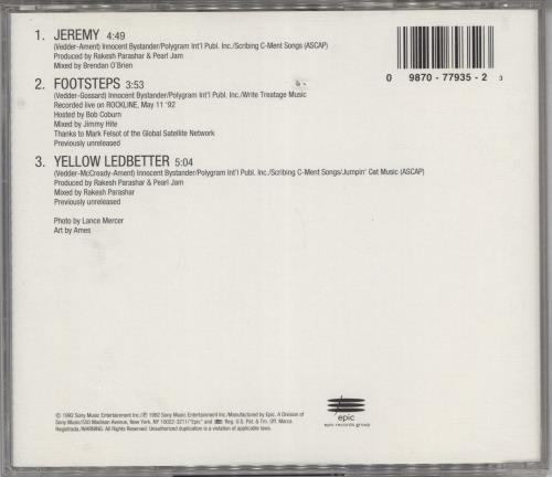 "Pearl Jam Jeremy - Stickered CD single (CD5 / 5"") US PJAC5JE768125"