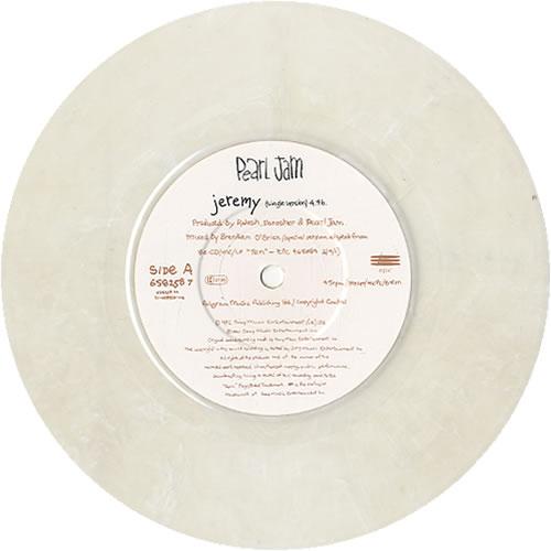 """Pearl Jam Jeremy - White Vinyl 7"""" vinyl single (7 inch record) UK PJA07JE33926"""