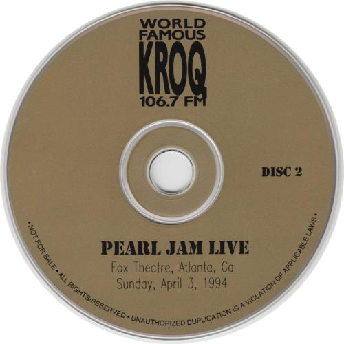 Pearl Jam Live 2 CD album set (Double CD) US PJA2CLI35293
