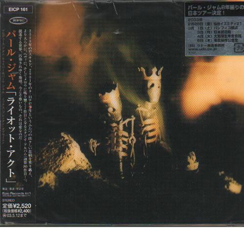 Pearl Jam Riot Act CD album (CDLP) Japanese PJACDRI234123