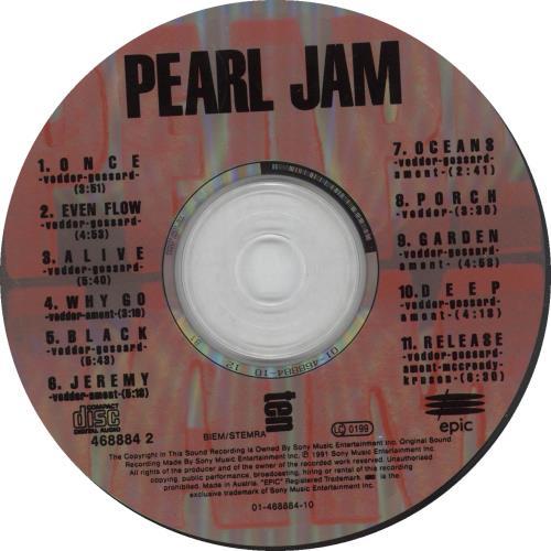 pearl jam cd  Pearl Jam Ten UK CD album (CDLP) (221442)