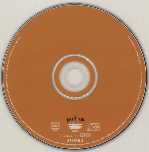 Pearl Jam Vs - Orange disc CD album (CDLP) Austrian PJACDVS406482
