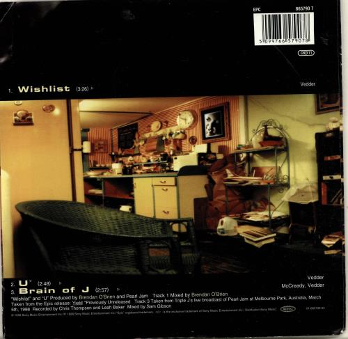 "Pearl Jam Wishlist 7"" vinyl single (7 inch record) UK PJA07WI163122"