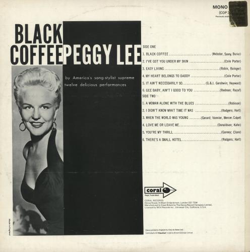 Peggy Lee Black Coffee vinyl LP album (LP record) UK PEGLPBL718653