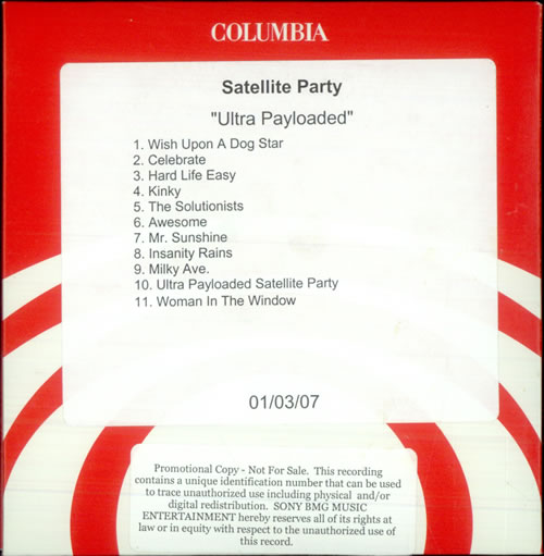 Perry Farrell's Satellite Party Ultra Payloaded CD-R acetate US SPVCRUL512037