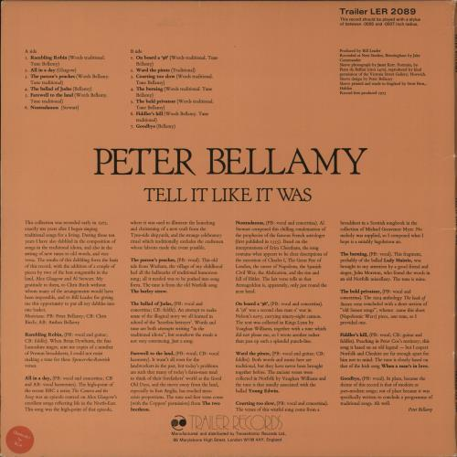 Peter Bellamy Tell It Like It Was vinyl LP album (LP record) UK 3PBLPTE717582