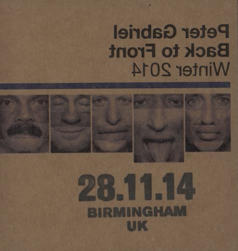 Peter Gabriel Back To Front Winter 2014: 28/11/14 Birmingham UK 2 CD album set (Double CD) UK GAB2CBA750901