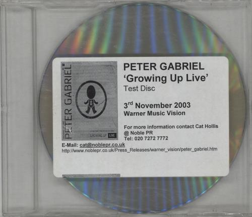 Peter Gabriel Growing Up Live - Test Disc DVD UK GABDDGR265289