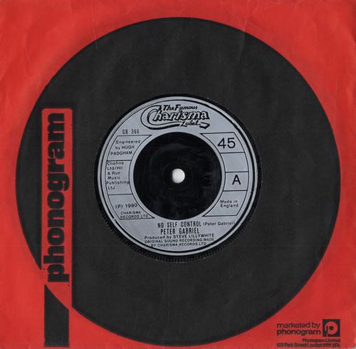 "Peter Gabriel No Self Control 7"" vinyl single (7 inch record) UK GAB07NO561547"