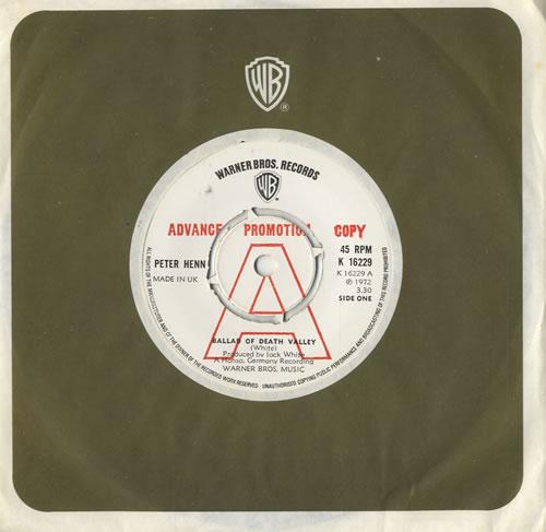 """Peter Henn Ballad Of Death Valley 7"""" vinyl single (7 inch record) UK HN607BA483745"""