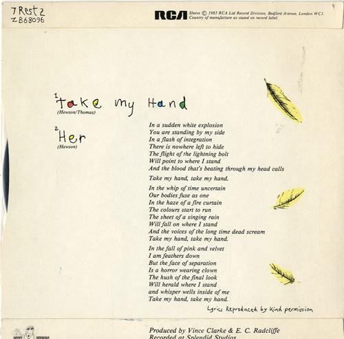"Peter Hewson Take My Hand 7"" vinyl single (7 inch record) UK EWS07TA147585"