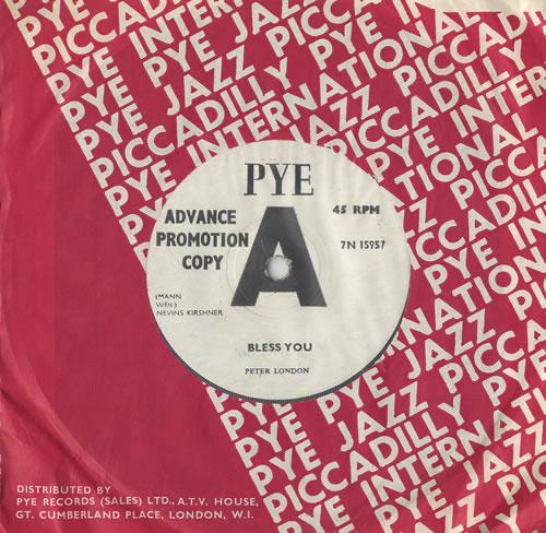 "Peter London Bless You 7"" vinyl single (7 inch record) UK PL-07BL466068"