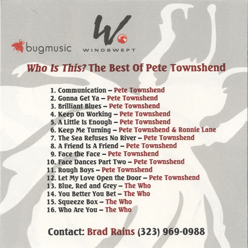 Pete Townshend Who Is This? The Best Of Pete Townshend CD-R acetate US TOWCRWH468469