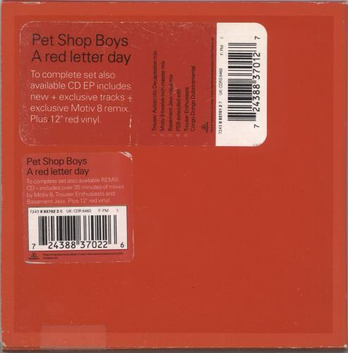 Pet Shop Boys A Red Letter Day - EX 2-CD single set (Double CD single) UK PSB2SAR401896