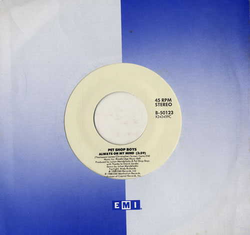 "Pet Shop Boys Always On My Mind - White Label 7"" vinyl single (7 inch record) US PSB07AL585425"