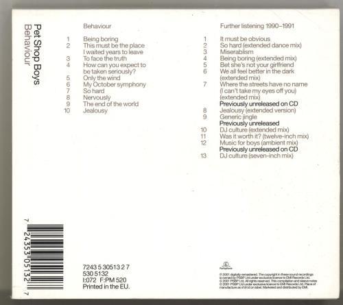 Pet Shop Boys Behaviour + Bonus CD 2 CD album set (Double CD) UK PSB2CBE182684