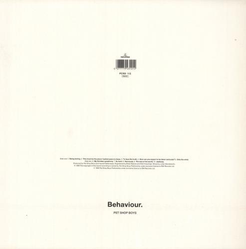 Pet Shop Boys Behaviour vinyl LP album (LP record) UK PSBLPBE730053