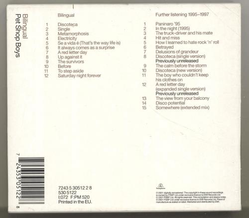 Pet Shop Boys Bilingual + Bonus CD 2 CD album set (Double CD) UK PSB2CBI182687