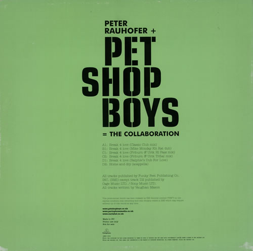 "Pet Shop Boys Break 4 Love / Home And Dry - Double 12"" vinyl single (12 inch record / Maxi-single) UK PSB12BR208800"