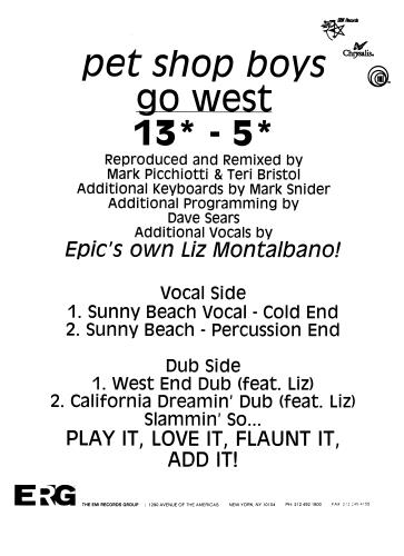 Pet Shop Boys Go West - Unauthorized Bootleg Remixes US Promo 12