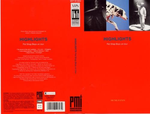 Pet Shop Boys Highlights video (VHS or PAL or NTSC) UK PSBVIHI91937