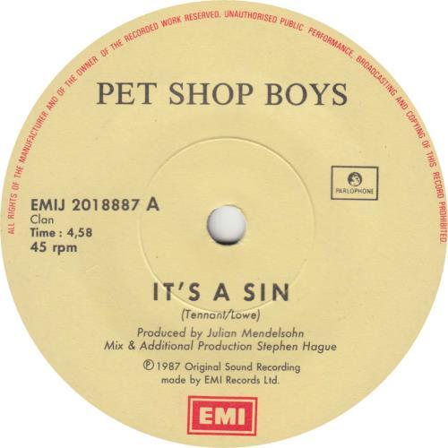"Pet Shop Boys It's A Sin 7"" vinyl single (7 inch record) South African PSB07IT65894"