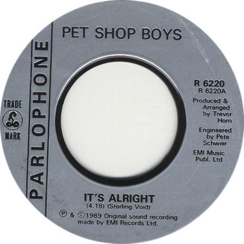 "Pet Shop Boys It's Alright - Jukebox Issue 7"" vinyl single (7 inch record) UK PSB07IT326369"