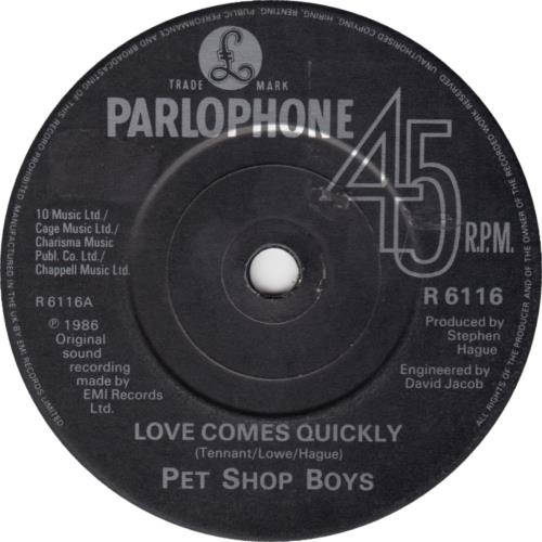 "Pet Shop Boys Love Comes Quickly - 1 Sided 7"" vinyl single (7 inch record) UK PSB07LO27739"
