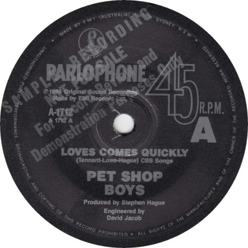 "Pet Shop Boys Love Comes Quickly 7"" vinyl single (7 inch record) Australian PSB07LO276357"