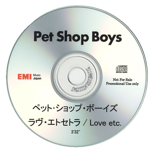 Pet Shop Boys Love Etc CD-R acetate Japanese PSBCRLO472108