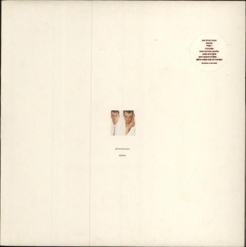 Pet Shop Boys Please - Stickered Sleeve vinyl LP album (LP record) UK PSBLPPL337157