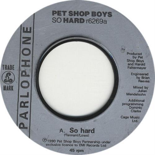 "Pet Shop Boys So Hard - Jukebox Issue 7"" vinyl single (7 inch record) UK PSB07SO326368"