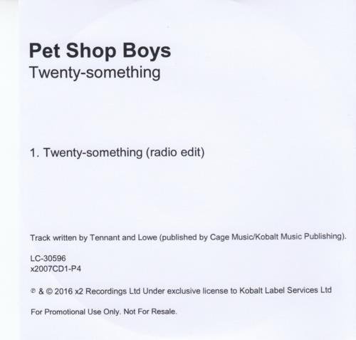 Pet Shop Boys Twenty Something CD-R acetate UK PSBCRTW652214