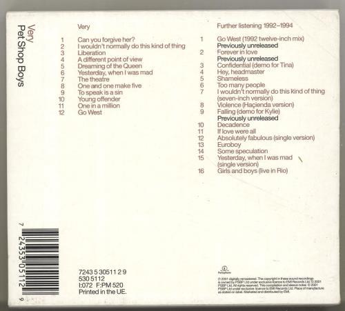 Pet Shop Boys Very + Bonus CD 2 CD album set (Double CD) UK PSB2CVE182686