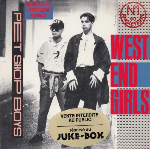 "Pet Shop Boys West End Girls - Juke Box Sticker 7"" vinyl single (7 inch record) French PSB07WE655895"