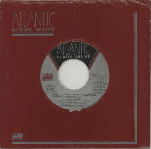 """Phil Collins Against All Odds 7"""" vinyl single (7 inch record) US COL07AG279137"""